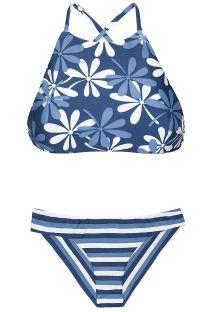 Çiçek/çizgili karışık desenli crop top bikini - MARESIA SPORTY