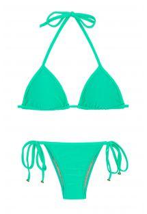 Bikini brésilien vert menthe accessoirisé à nouer - MARESIA TRI
