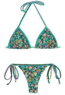 Green floral thong swimsuit - MARGARIDAS
