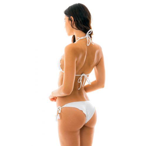 Brasilianischer Bikini, Scrunch, irisiertes weiß, mit Pompons- MARRAKESH BRANCO FRUFRU