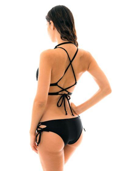 Black striped halter bikini with laced bottom - MARRAKESH PRETO CORTINAO