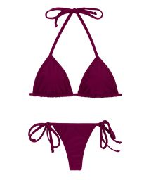 Plum side-tie string bikini with triangle sliding top - MARSALA TRI MICRO