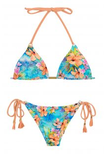 Colorful scrunch side-tie bikini - MAXI FLOWER ARG TRI