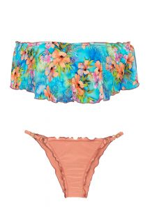 Multicolored floral crop top bikini with ruffle - MAXI FLOWER BABADO