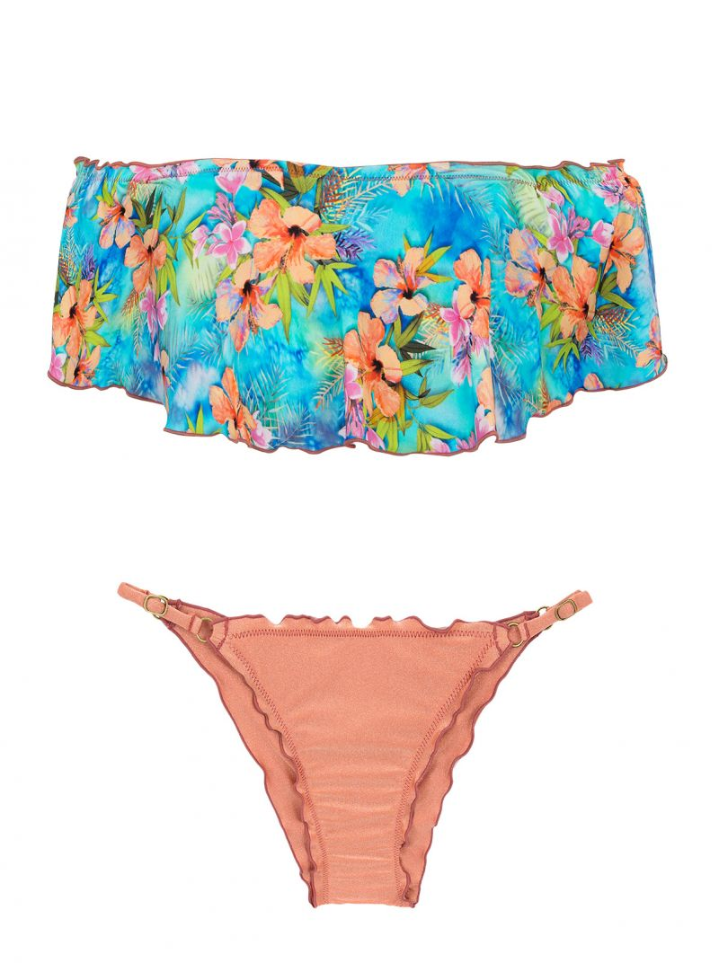Multicolored floral crop top bikini with ruffle - MAXI FLOWER BABADO