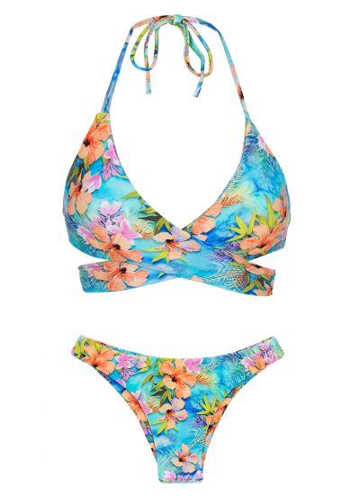 Flerfärgat blommönstrad bikini, BH med omlottknytning - MAXI FLOWER TRANSPASSADO