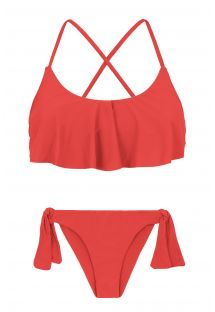 Back crossed and frilled red bikini - MELANCIA BABADO
