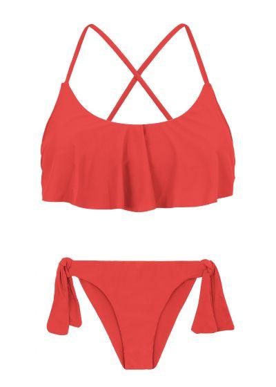 Back crossed and frilled red bikini - MELANCIA BABADO