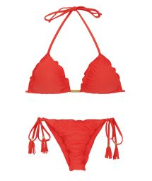 Red scrunch bikini with tassels - MELANCIA EVA