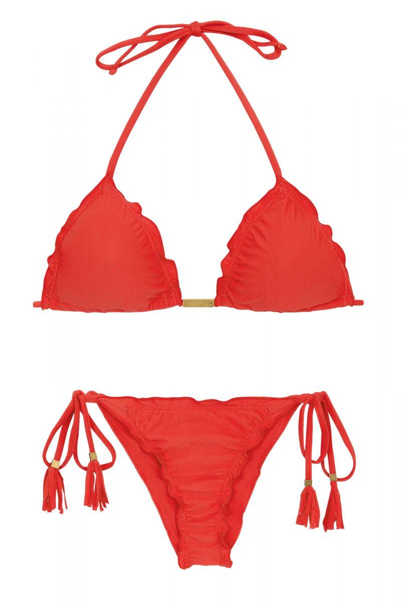 Cinnoberröd skrynklad brasiliansk bikini med tofsar - MELANCIA EVA