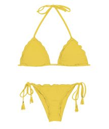 Yellow side-tie scrunch bikini wavy edges - MELON EVA