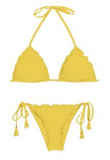 Bikini brésilien scrunch jaune à pompons - MELON EVA