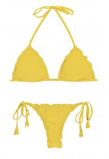 Yellow side-tie string bikini wavy edges - MELON EVA MICRO