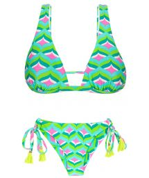 Graphic print green triangle bikini with pompons - MERMAID CORTINAO