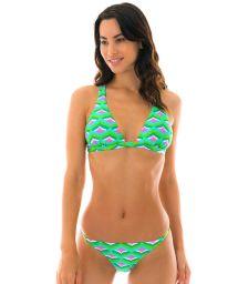 Bikini string fixe imprimé graphique vert - MERMAID CORTINAO MICRO