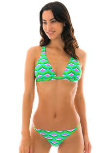Halter string bikini - grønt grafisk mønster - MERMAID CORTINAO MICRO