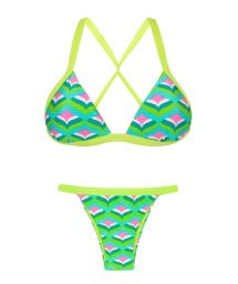 Fixed triangle bikini with green borders - MERMAID TRI