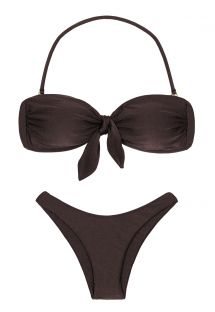 Iridescent brown high-leg bikini with bandeau top - METEORITE BANDEAU