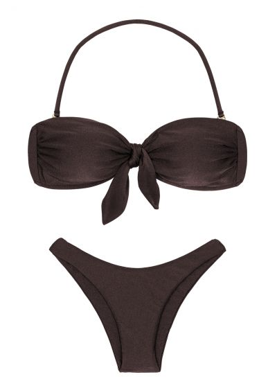 Iridescent brown high-leg bikini with bandeau top - METEORITE BANDEAU
