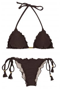 Black scrunch bikini with tassels - METEORITE FRUFRU