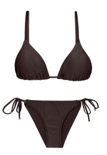 Accessorized iridescent brown side-tie bikini - METEORITE INV COMFORT