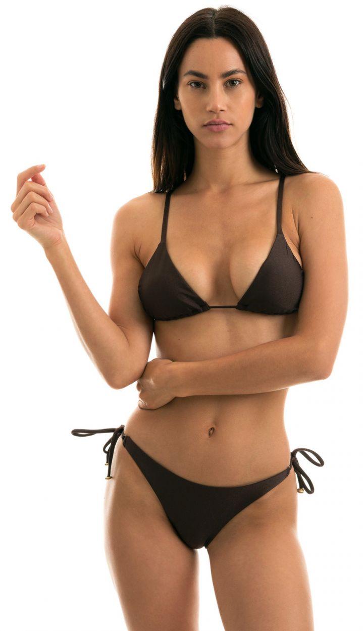 Bikini brésilien marron irisé accessoirisé - METEORITE INVISIBLE