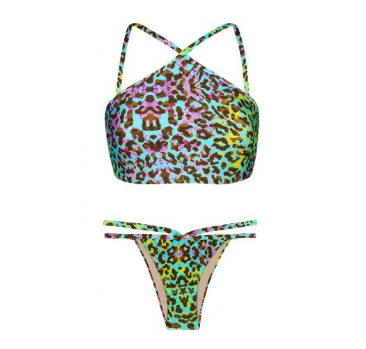 Multicoloured leopard print crop top bikini - MORUMBI CROPPED