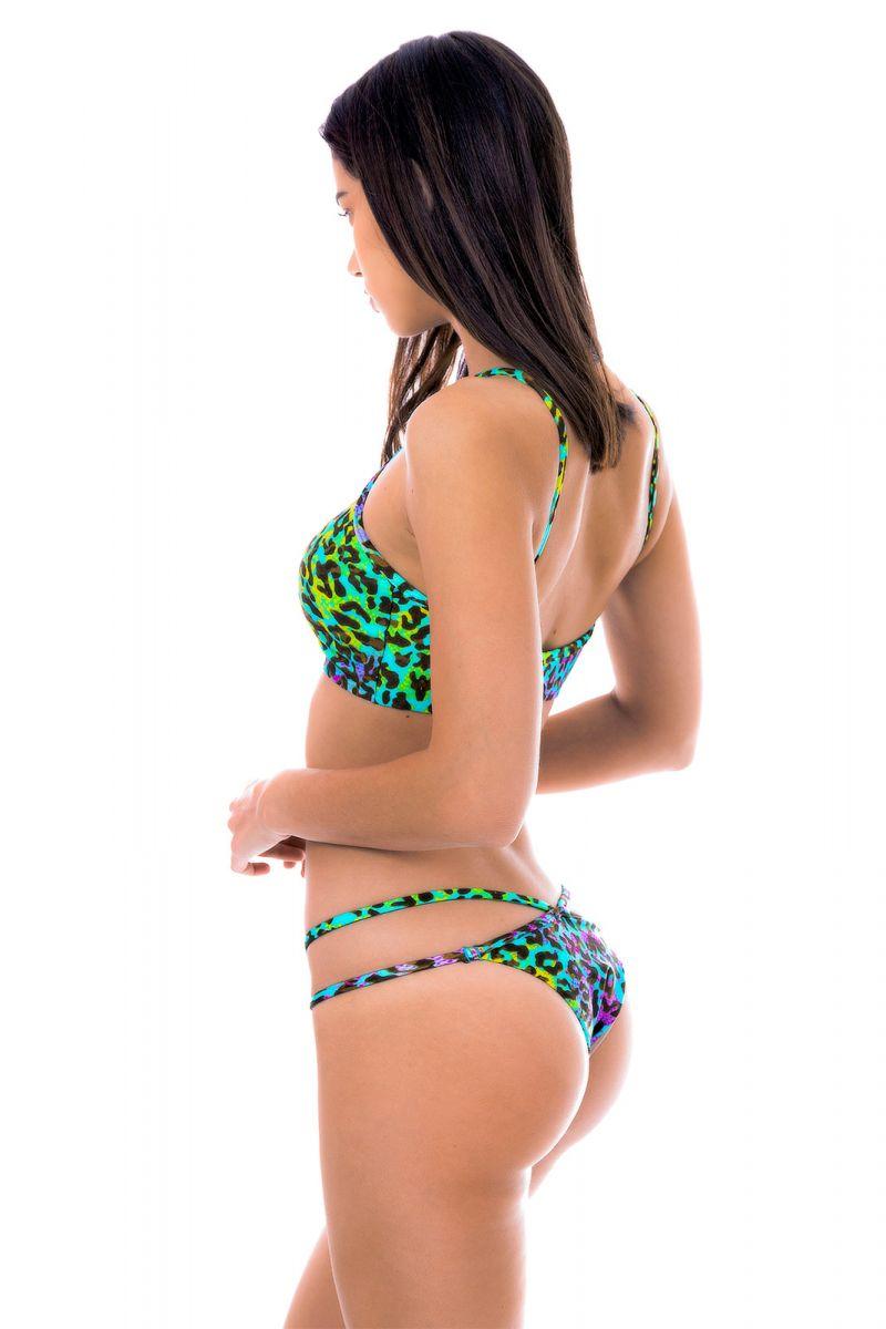 Multicoloured leopard print crop top bikini - MORUMBI CROPPED
