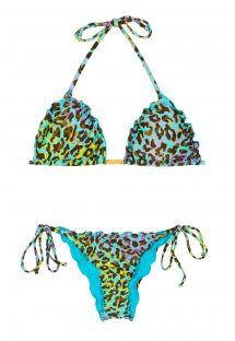 Rengarenk pars desenli kırışık Brezilya bikinisi - MORUMBI FRUFRU