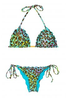 Multikolorowe wiązane bikini typu scrunch ze wzorem lamparcich cętek - MORUMBI FRUFRU