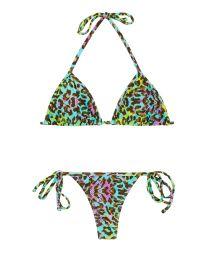 Bikini string imprimé léopard multicolore - MORUMBI MICRO
