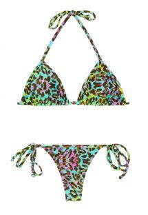 Multicoloured leopard print string bikini - MORUMBI MICRO
