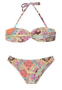 Bikini palabra de honor de copas rígidas, estampado y atado al cuello - MUNDOMIX BANDEAU