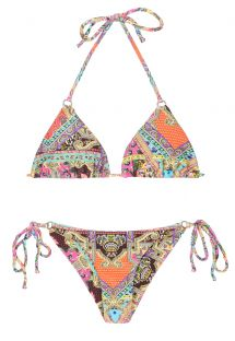 Scarf printed Brazilian bikini with rings - MUNDOMIX CHEEKY