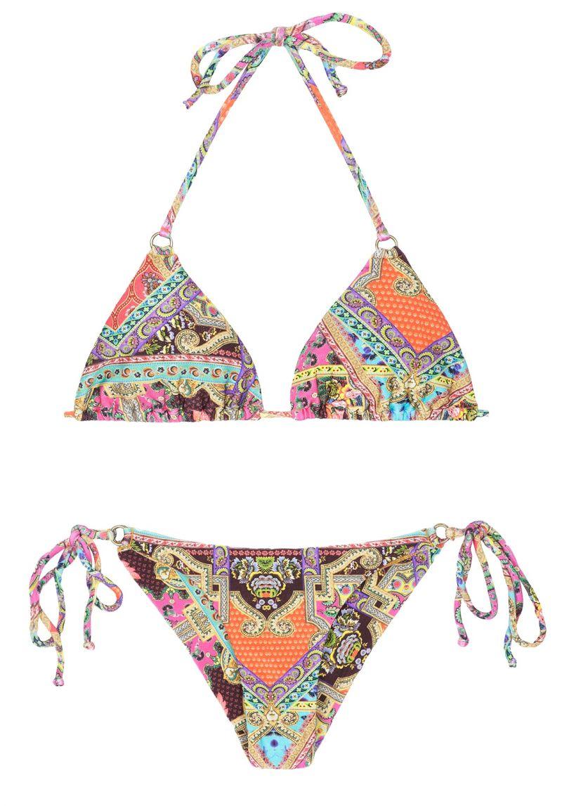 Scarf printed Brazilian bikini with rings - MUNDOMIX CHEEKY