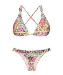 Cross back triangle scarf printed bikini  - MUNDOMIX COOL