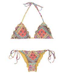 Scrunch bikini foulard print with wavy edge- MUNDOMIX FRUFRU