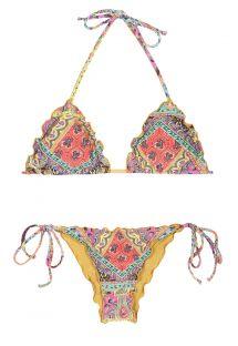 Dalgalı kenarlı renkli eşarp kırışık bikini - MUNDOMIX FRUFRU