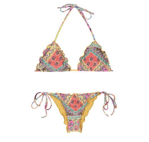 Scrunch-Bikini, gewellte Ränder, Foularddruck - MUNDOMIX FRUFRU