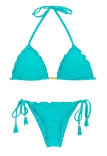Bikini brésilien scrunch bleu ciel à pompons - NANAI EVA