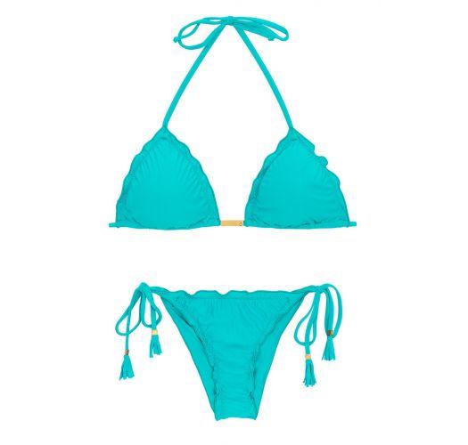 Brasiliansk skrumpet himmelblå bikini med pomponger - NANAI EVA