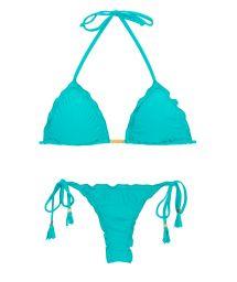 Rynkad, blå string bikini med pompoms - NANAI EVA MICRO