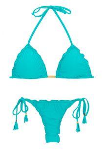Gök mavisi püsküllü kırışık string bikini - NANAI EVA MICRO