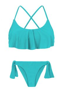 Sky blue side-tie bikini with ruffled crop top - NANNAI BABADO