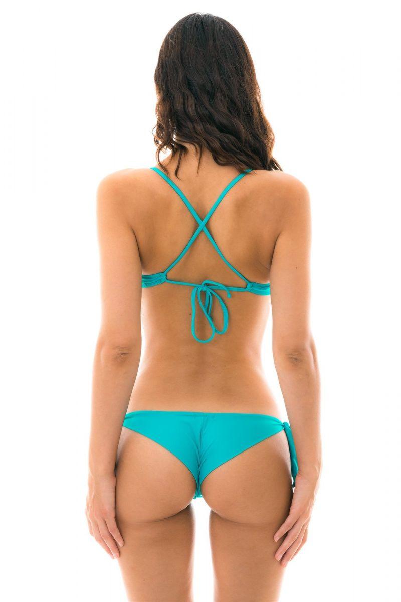 Sky blue side-tie bikini with ruffled crop top - NANNAI BABADO