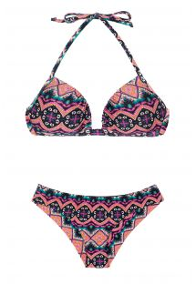 Rosa wattierter fester Ethno-Push-Up-Bikini - NEW ETHNIC BORBOLETA