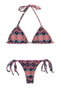 String-bikini, etnisk rosa med knyting - NEW ETHNIC MICRO