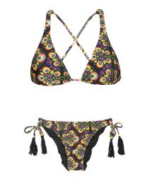 Floral scarf bikini, bottom with tassels - NEWFOLK COOL POMPOM