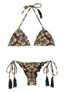 Blomstret/sort scrunch bikini med g-streng og pomponer - NEWFOLK FRUFRU FIO