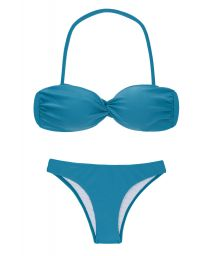 Bikini bandeau effet torsadé bleu azur - NILO BANDEAU